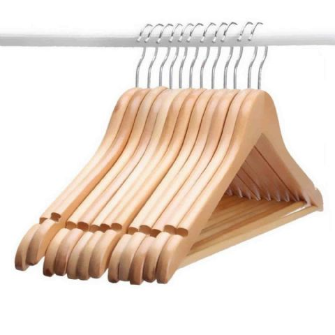 12 Russel Deluxe Notched Wooden Clothes Hangers